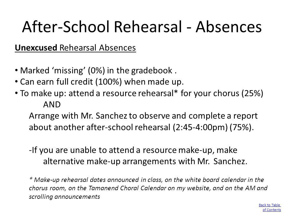 After-School Rehearsal - Absences Unexcused Rehearsal Absences Marked missing (0%) in the gradebook. Can earn full credit (100%) when made up. To make