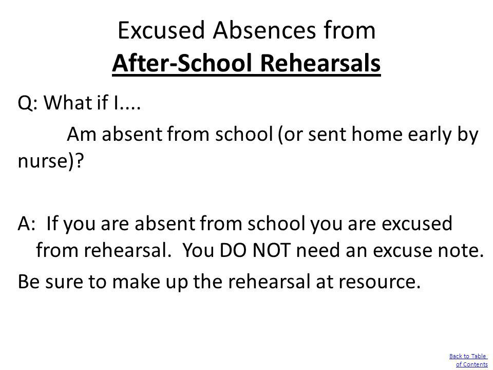 Excused Absences from After-School Rehearsals Q: What if I.... Am absent from school (or sent home early by nurse)? A: If you are absent from school y