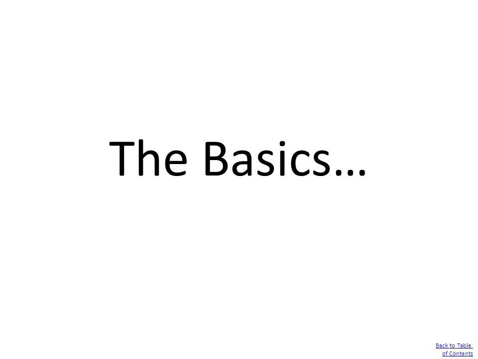 The Basics… Back to Table of Contents