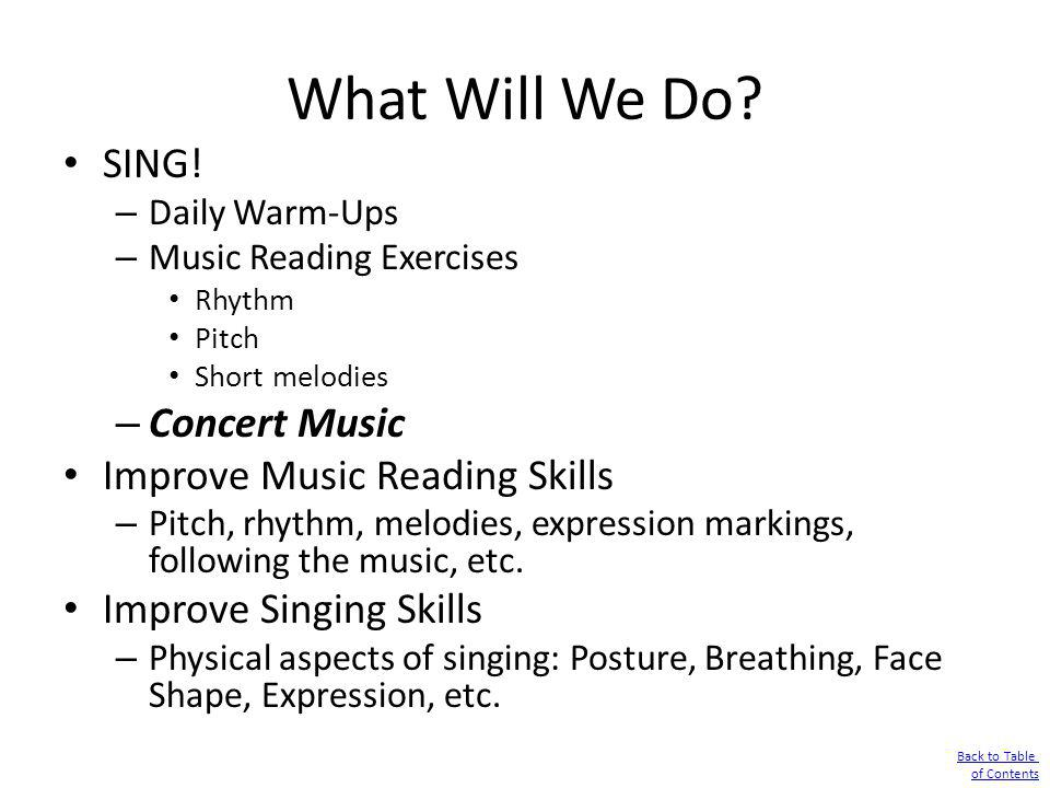 What Will We Do? SING! – Daily Warm-Ups – Music Reading Exercises Rhythm Pitch Short melodies – Concert Music Improve Music Reading Skills – Pitch, rh