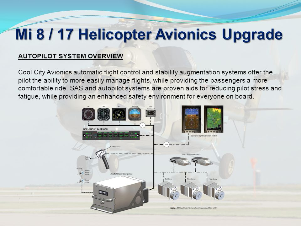 AUTOPILOT SYSTEM OVERVIEW Cool City Avionics automatic flight control and stability augmentation systems offer the pilot the ability to more easily ma