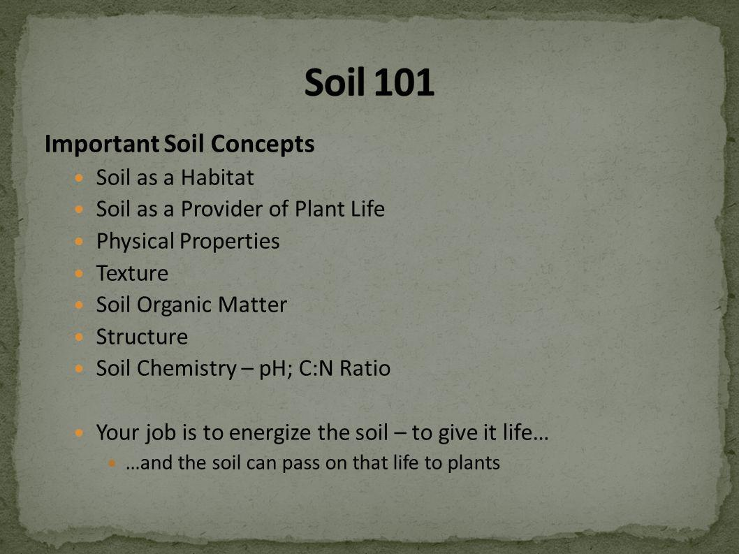 Important Soil Concepts Soil as a Habitat Soil as a Provider of Plant Life Physical Properties Texture Soil Organic Matter Structure Soil Chemistry – pH; C:N Ratio Your job is to energize the soil – to give it life… …and the soil can pass on that life to plants