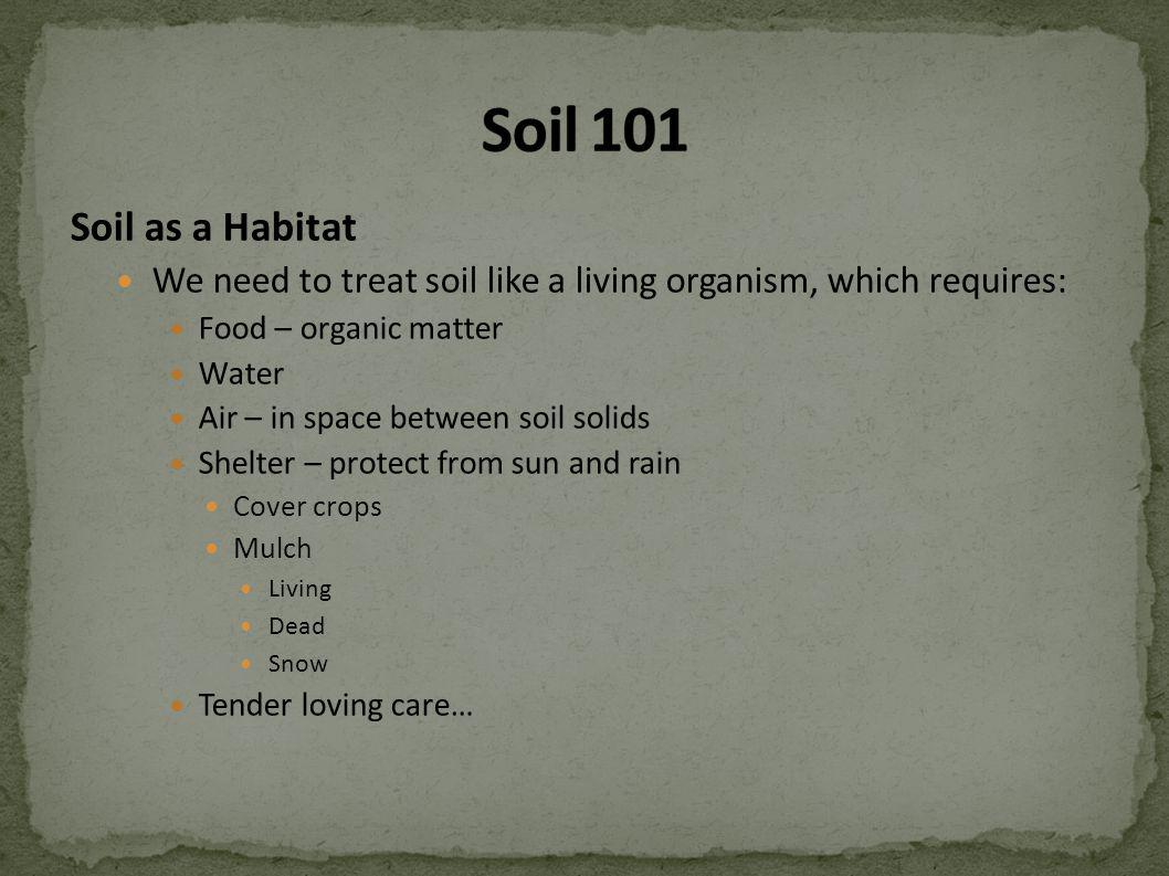 Soil as a Habitat We need to treat soil like a living organism, which requires: Food – organic matter Water Air – in space between soil solids Shelter – protect from sun and rain Cover crops Mulch Living Dead Snow Tender loving care…