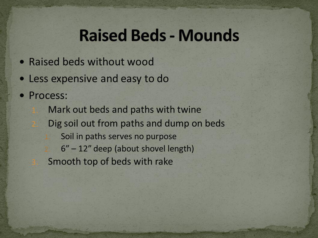 Raised beds without wood Less expensive and easy to do Process: 1.