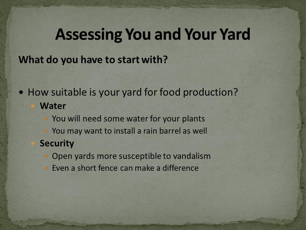 What do you have to start with? How suitable is your yard for food production? Water You will need some water for your plants You may want to install