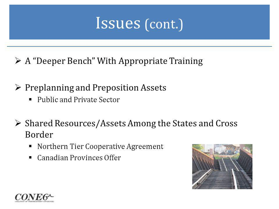 Issues (cont.) A Deeper Bench With Appropriate Training Preplanning and Preposition Assets Public and Private Sector Shared Resources/Assets Among the States and Cross Border Northern Tier Cooperative Agreement Canadian Provinces Offer