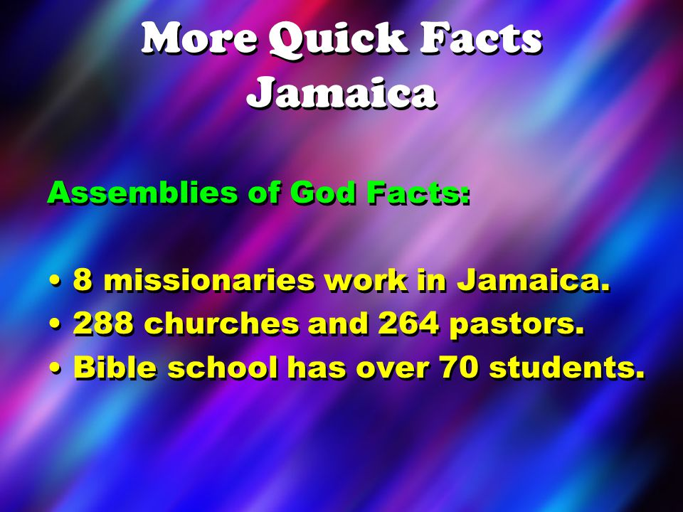 LETS PRAY… for our missionaries and the Jamaican pastors and churches.
