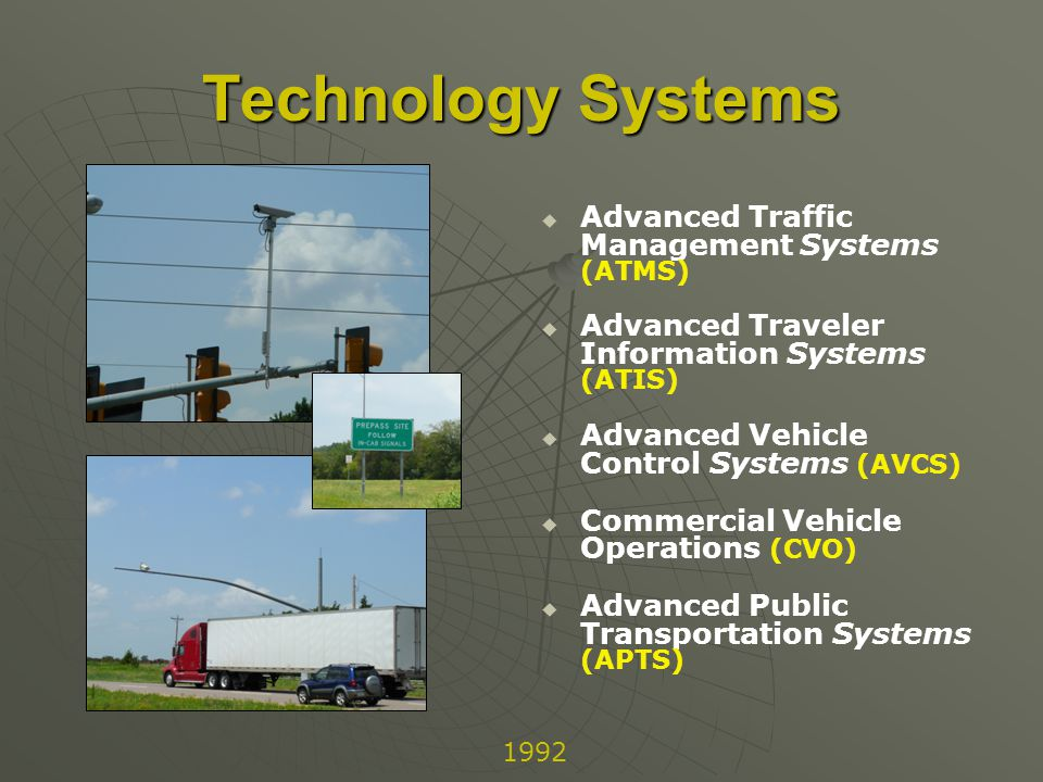 Technology Systems Advanced Traffic Management Systems (ATMS) Advanced Traveler Information Systems (ATIS) Advanced Vehicle Control Systems (AVCS) Commercial Vehicle Operations (CVO) Advanced Public Transportation Systems (APTS) 1992