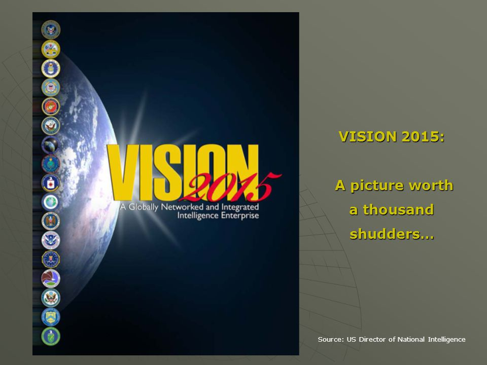 VISION 2015: A picture worth A picture worth a thousand shudders… Source: US Director of National Intelligence