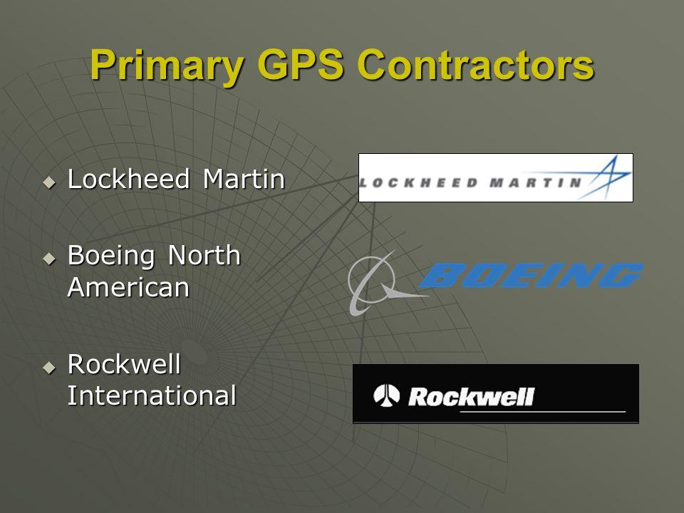 Primary GPS Contractors Lockheed Martin Lockheed Martin Boeing North American Boeing North American Rockwell International Rockwell International