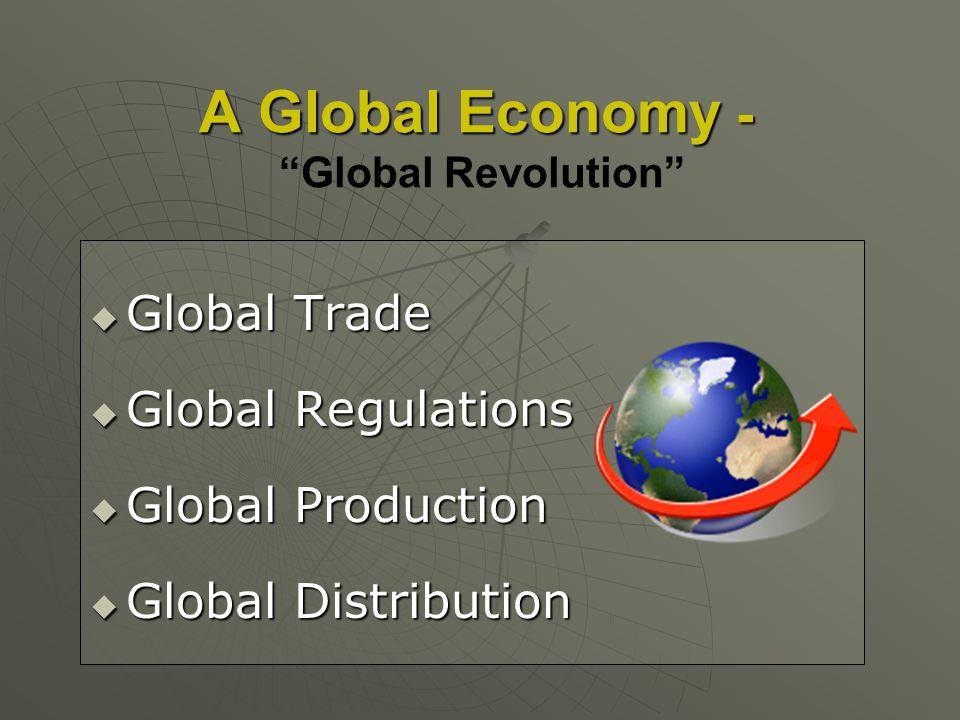 A Global Economy - A Global Economy - Global Revolution Global Trade Global Trade Global Regulations Global Regulations Global Production Global Produ