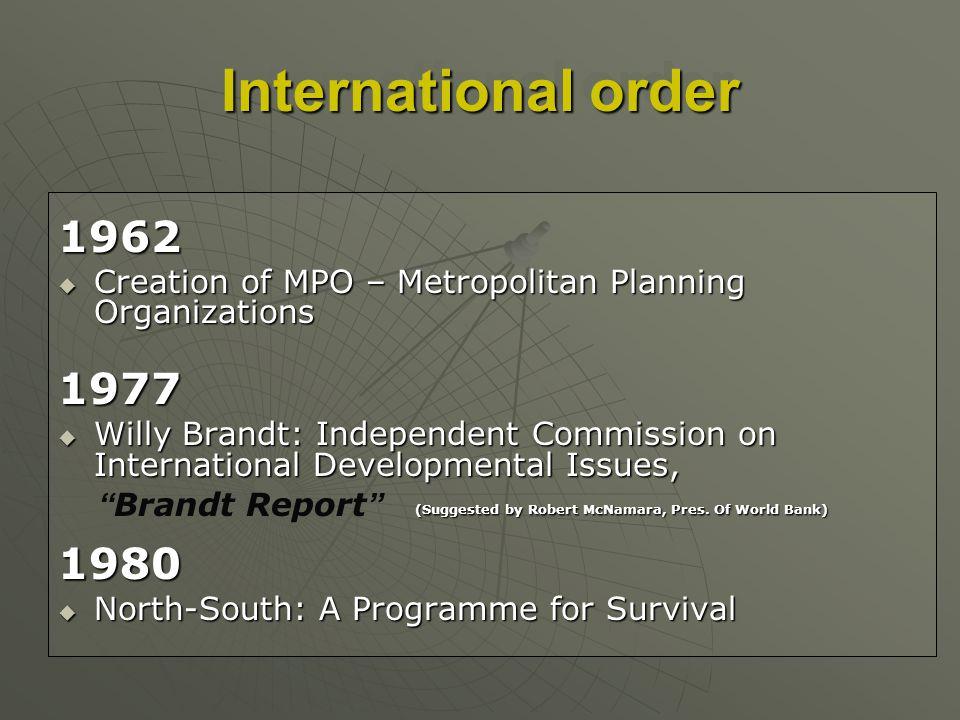 International order 1962 Creation of MPO – Metropolitan Planning Organizations Creation of MPO – Metropolitan Planning Organizations1977 Willy Brandt: