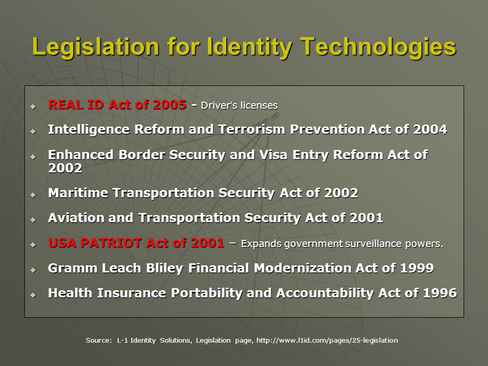 REAL ID Act of 2005 - Drivers licenses REAL ID Act of 2005 - Drivers licenses Intelligence Reform and Terrorism Prevention Act of 2004 Intelligence Reform and Terrorism Prevention Act of 2004 Enhanced Border Security and Visa Entry Reform Act of 2002 Enhanced Border Security and Visa Entry Reform Act of 2002 Maritime Transportation Security Act of 2002 Maritime Transportation Security Act of 2002 Aviation and Transportation Security Act of 2001 Aviation and Transportation Security Act of 2001 USA PATRIOT Act of 2001 – Expands government surveillance powers.