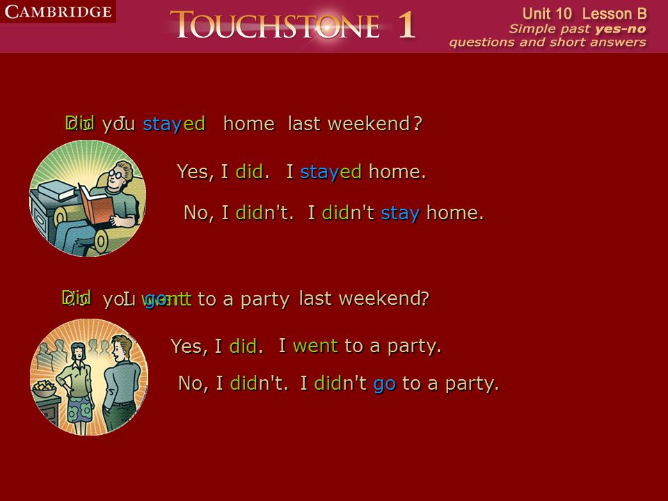 wentwent do Did stay last weekend Ihomeyoued. Yes, I did. ? No, I didn't. I stayed home. I didn't didn't stay stay home. go ?doyou. Did last weekend I