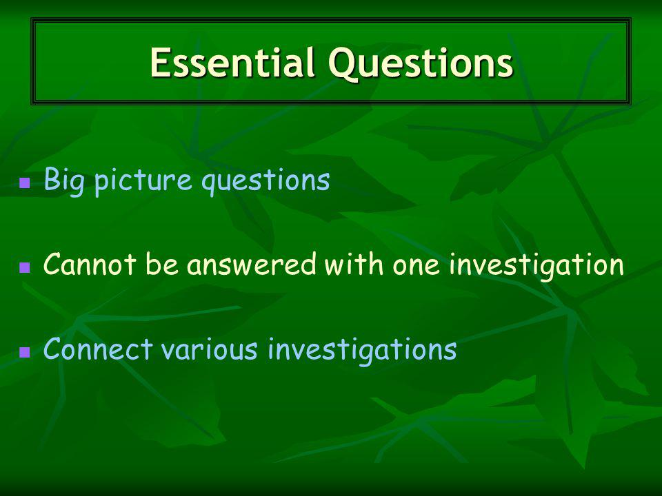 Big picture questions Cannot be answered with one investigation Connect various investigations Essential Questions