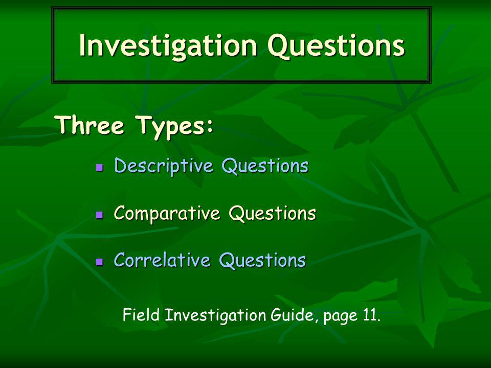 Three Types: Investigation Questions Descriptive Questions Descriptive Questions Comparative Questions Comparative Questions Correlative Questions Correlative Questions Field Investigation Guide, page 11.