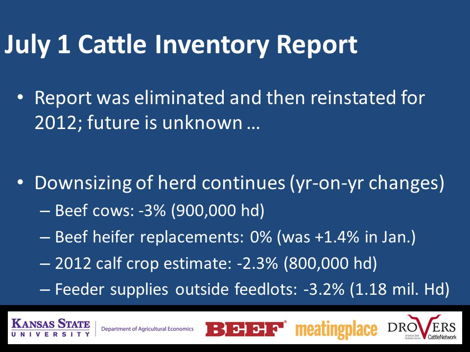 July 1 Cattle Inventory Report Report was eliminated and then reinstated for 2012; future is unknown … Downsizing of herd continues (yr-on-yr changes)