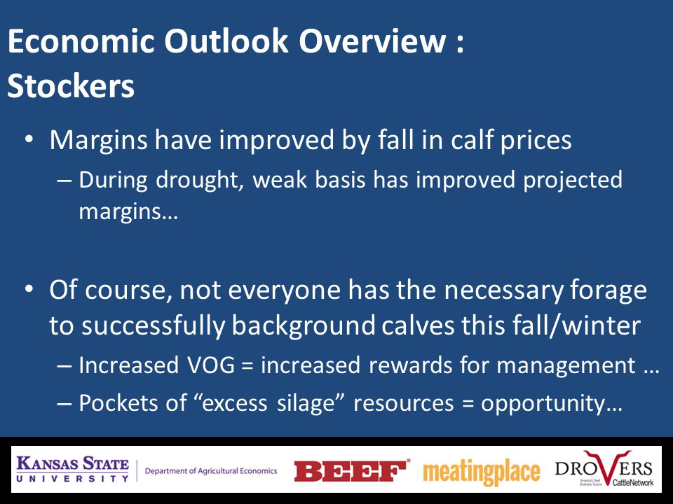 Economic Outlook Overview : Stockers Margins have improved by fall in calf prices – During drought, weak basis has improved projected margins… Of cour