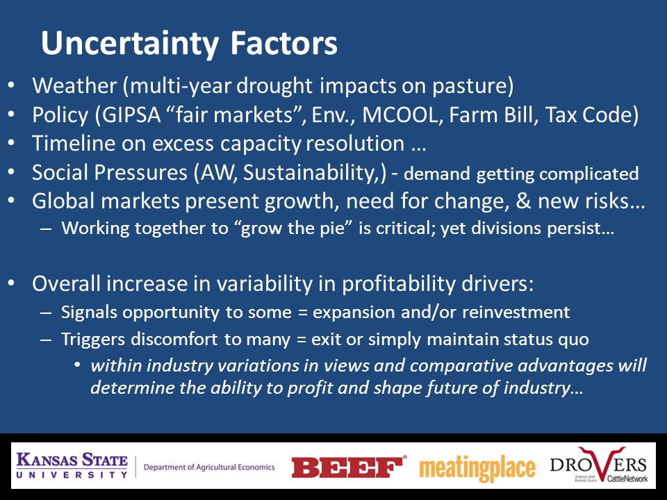Uncertainty Factors Weather (multi-year drought impacts on pasture) Policy (GIPSA fair markets, Env., MCOOL, Farm Bill, Tax Code) Timeline on excess c