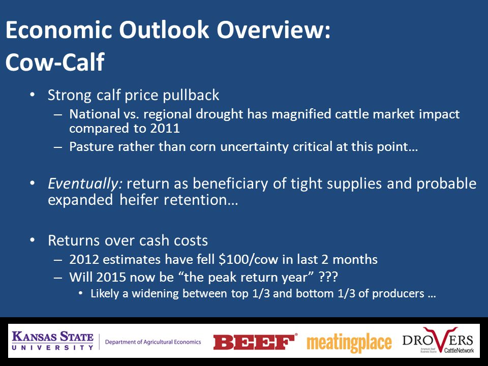 Economic Outlook Overview: Cow-Calf Strong calf price pullback – National vs. regional drought has magnified cattle market impact compared to 2011 – P