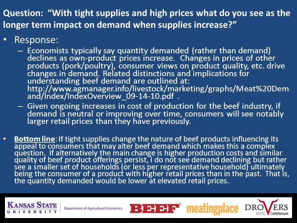 Question: With tight supplies and high prices what do you see as the longer term impact on demand when supplies increase? Response: – Economists typic