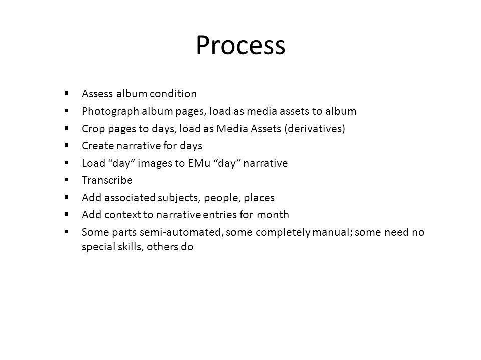 Process Assess album condition Photograph album pages, load as media assets to album Crop pages to days, load as Media Assets (derivatives) Create nar