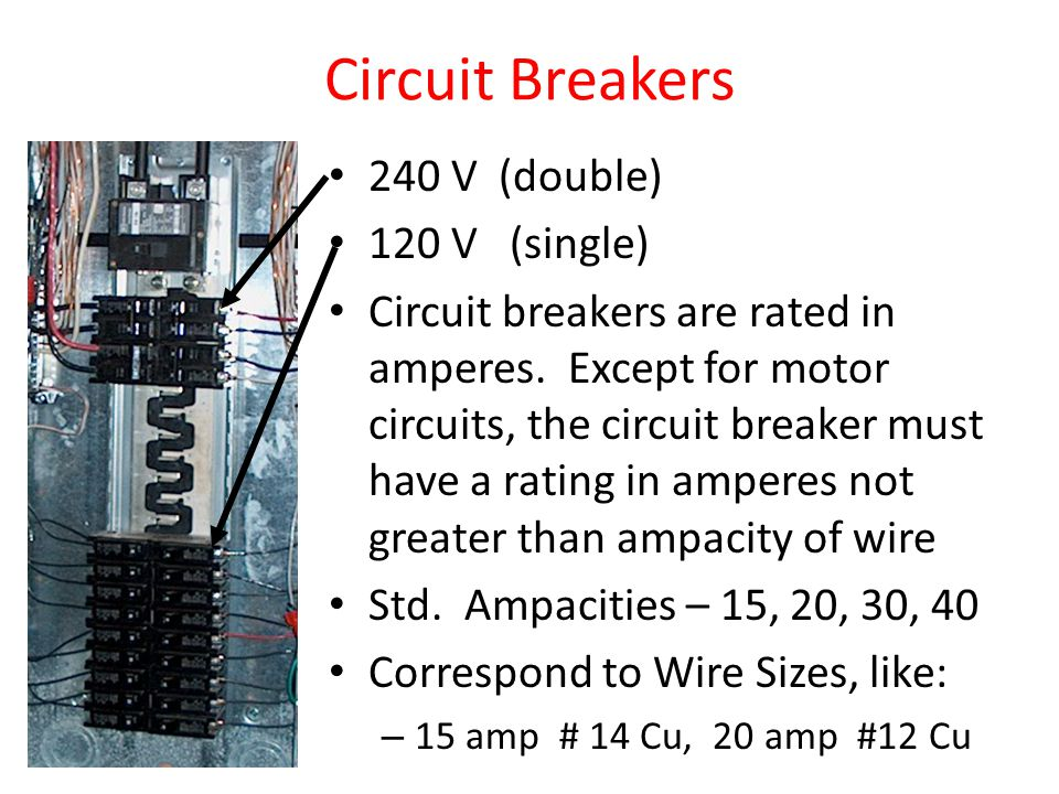 Circuit Breakers 240 V (double) 120 V (single) Circuit breakers are rated in amperes.