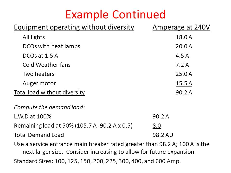 Example Continued Equipment operating without diversityAmperage at 240V All lights18.0 A DCOs with heat lamps20.0 A DCOs at 1.5 A4.5 A Cold Weather fans7.2 A Two heaters25.0 A Auger motor15.5 A Total load without diversity90.2 A Compute the demand load: L.W.D at 100%90.2 A Remaining load at 50% (105.7 A- 90.2 A x 0.5)8.0 Total Demand Load98.2 AU Use a service entrance main breaker rated greater than 98.2 A; 100 A is the next larger size.