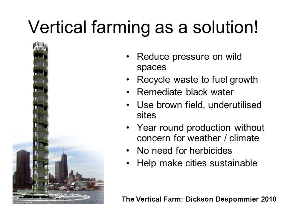Vertical farming as a solution! Reduce pressure on wild spaces Recycle waste to fuel growth Remediate black water Use brown field, underutilised sites