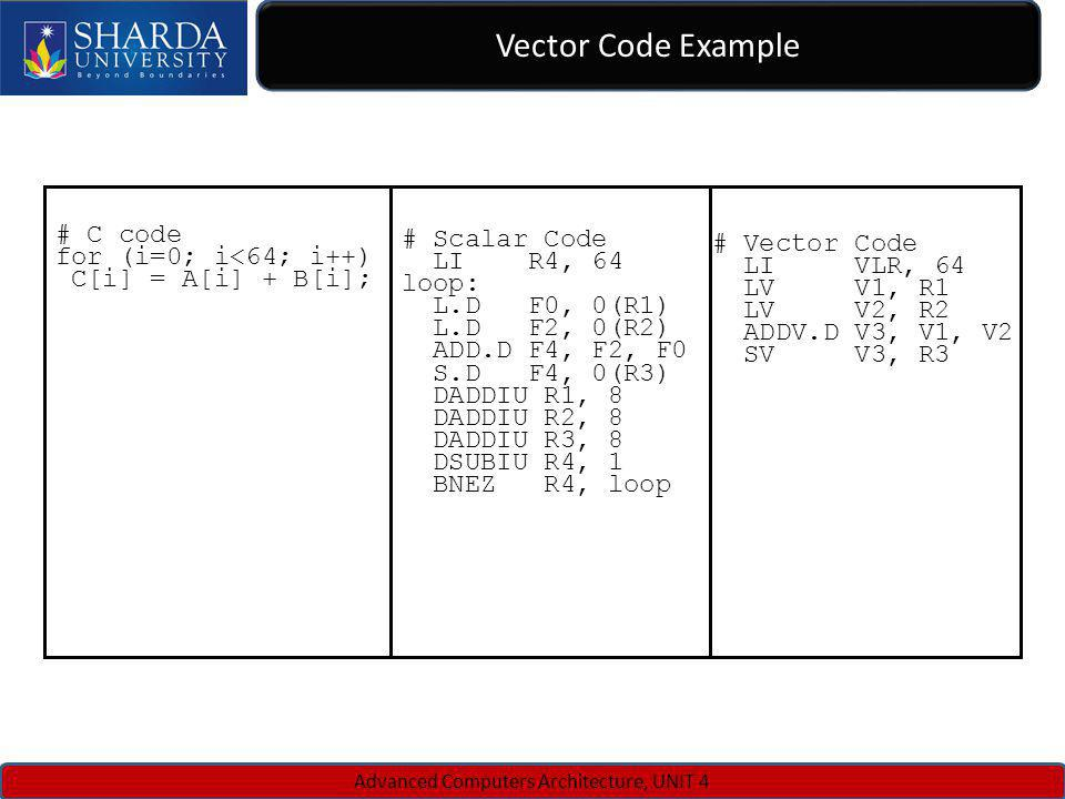 Vector Code Example Advanced Computers Architecture, UNIT 4 # Scalar Code LI R4, 64 loop: L.D F0, 0(R1) L.D F2, 0(R2) ADD.D F4, F2, F0 S.D F4, 0(R3) D
