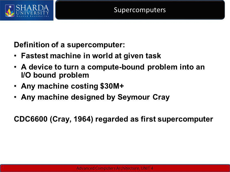 Supercomputers Advanced Computers Architecture, UNIT 4 Definition of a supercomputer: Fastest machine in world at given task A device to turn a comput