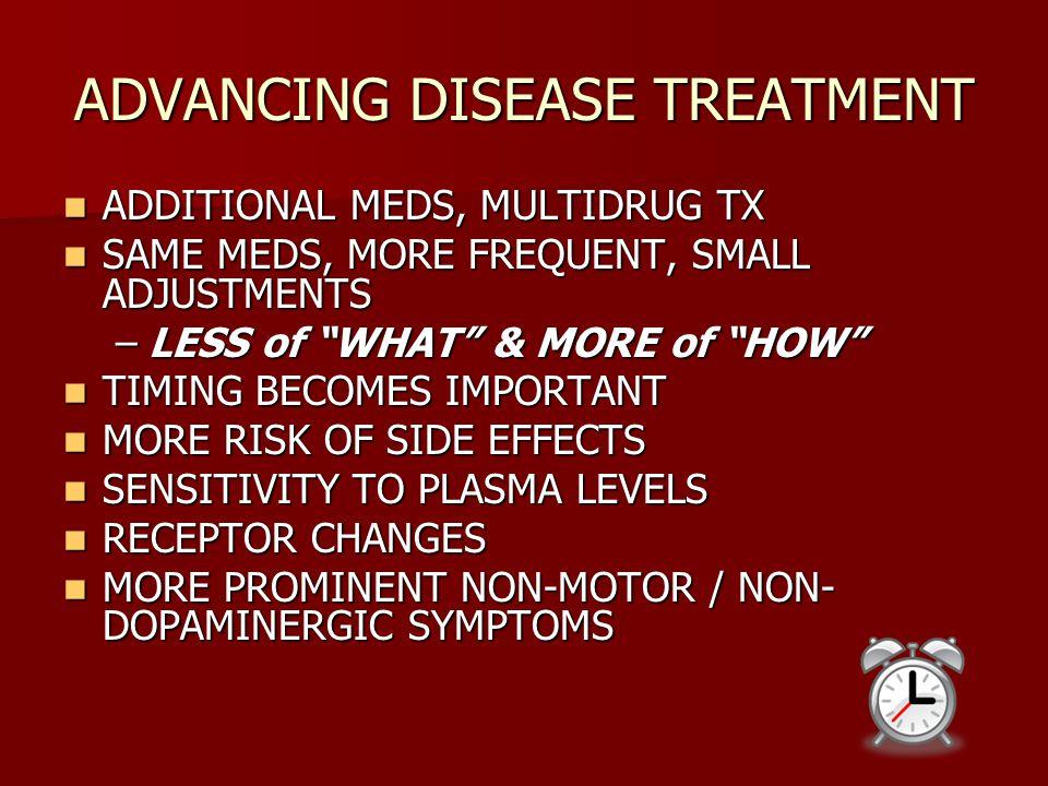ADVANCING DISEASE TREATMENT ADDITIONAL MEDS, MULTIDRUG TX ADDITIONAL MEDS, MULTIDRUG TX SAME MEDS, MORE FREQUENT, SMALL ADJUSTMENTS SAME MEDS, MORE FR