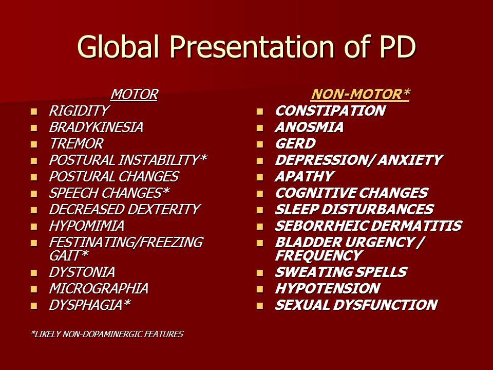 Global Presentation of PD MOTOR RIGIDITY RIGIDITY BRADYKINESIA BRADYKINESIA TREMOR TREMOR POSTURAL INSTABILITY* POSTURAL INSTABILITY* POSTURAL CHANGES