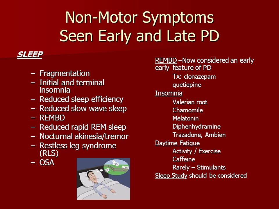 Non-Motor Symptoms Seen Early and Late PD SLEEP –Fragmentation –Initial and terminal insomnia –Reduced sleep efficiency –Reduced slow wave sleep –REMB