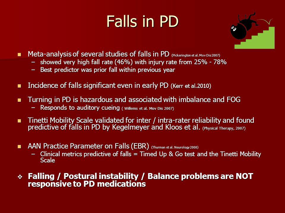 Falls in PD Meta-analysis of several studies of falls in PD (Pickerington et al. Mov Dis 2007) Meta-analysis of several studies of falls in PD (Picker