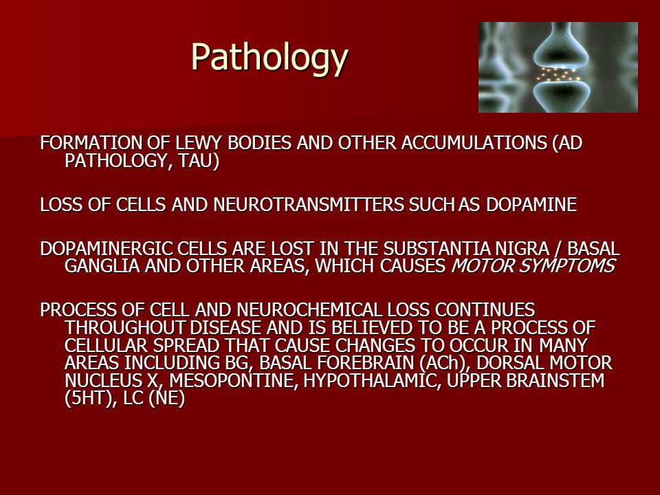 Pathology FORMATION OF LEWY BODIES AND OTHER ACCUMULATIONS (AD PATHOLOGY, TAU) LOSS OF CELLS AND NEUROTRANSMITTERS SUCH AS DOPAMINE DOPAMINERGIC CELLS