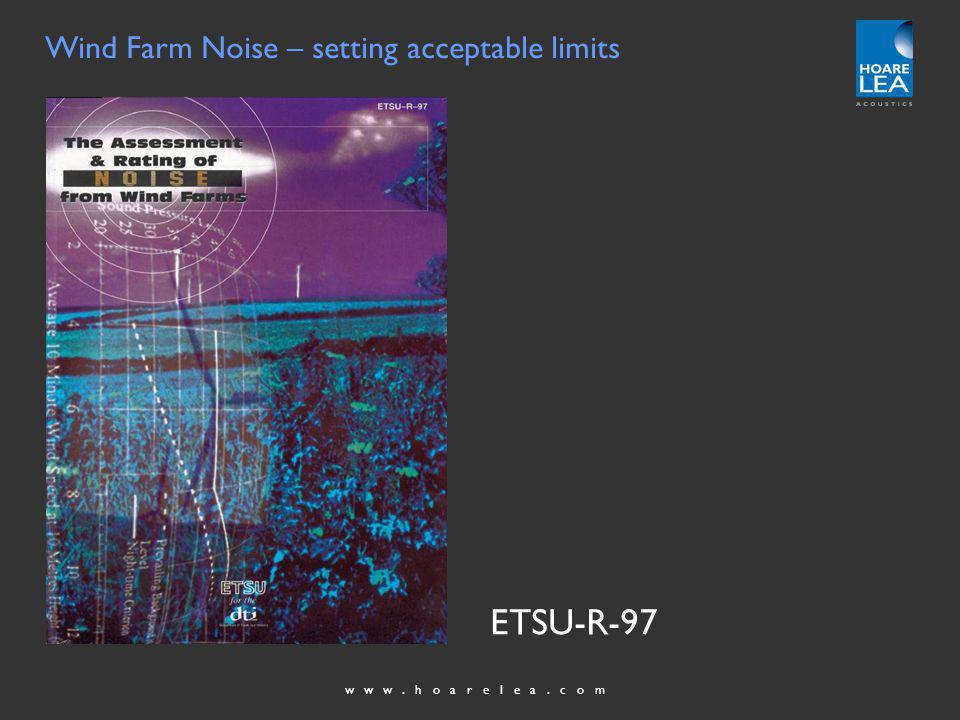 www.hoarelea.com Wind Farm Noise – setting acceptable limits ETSU-R-97