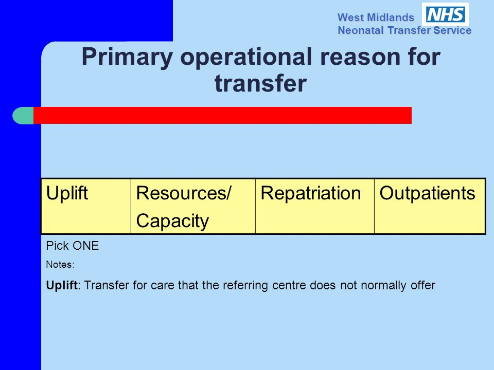 West Midlands Neonatal Transfer Service Primary operational reason for transfer UpliftResources/ Capacity RepatriationOutpatients Pick ONE Notes: Uplift: Transfer for care that the referring centre does not normally offer