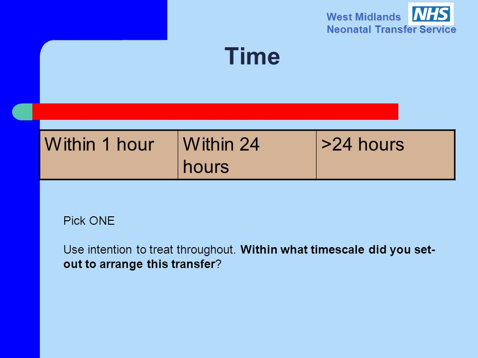 West Midlands Neonatal Transfer Service Time Within 1 hourWithin 24 hours >24 hours Pick ONE Use intention to treat throughout.