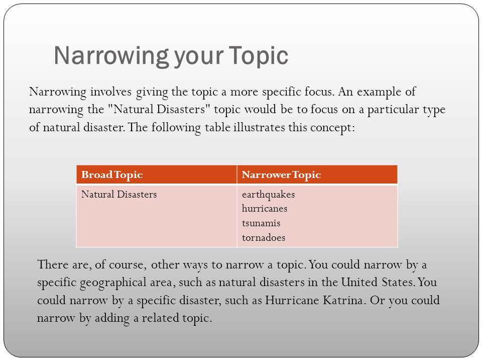 Narrowing your Topic Broad TopicNarrower Topic Natural Disastersearthquakes hurricanes tsunamis tornadoes Narrowing involves giving the topic a more s