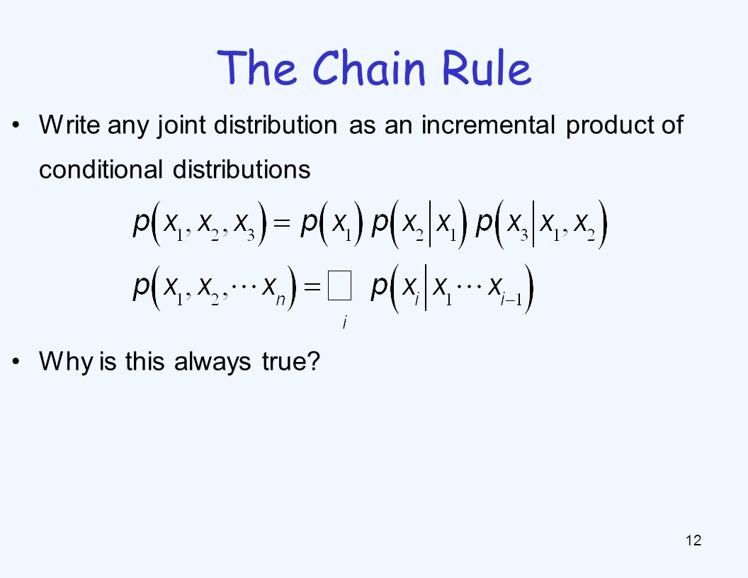 The Chain Rule 12 Write any joint distribution as an incremental product of conditional distributions Why is this always true?