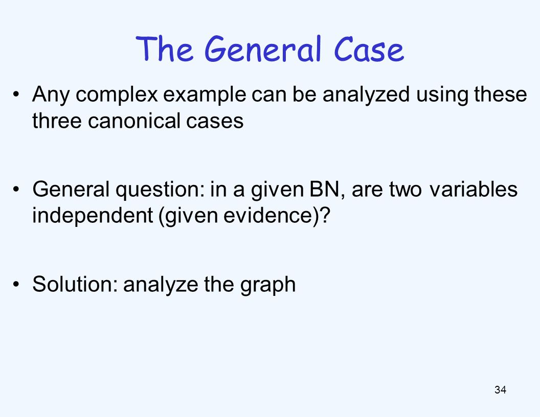 The General Case 34 Any complex example can be analyzed using these three canonical cases General question: in a given BN, are two variables independe