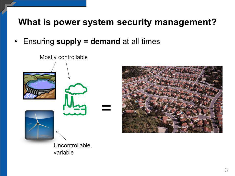 What is power system security management? Ensuring supply = demand at all times 3 = Mostly controllable Uncontrollable, variable