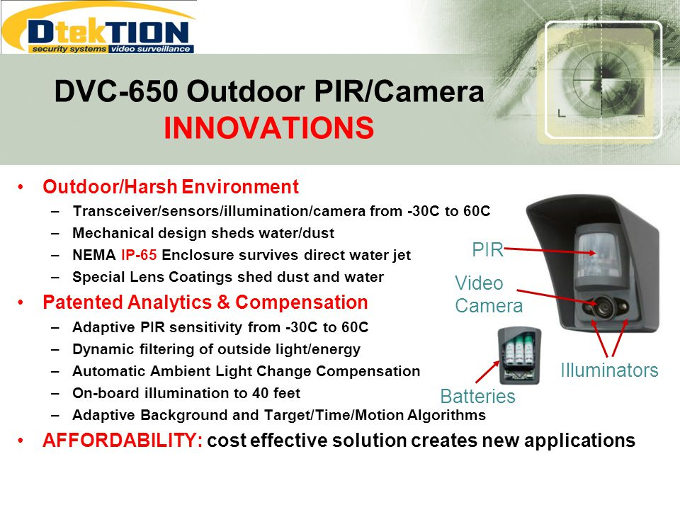 Outdoor/Harsh Environment –Transceiver/sensors/illumination/camera from -30C to 60C –Mechanical design sheds water/dust –NEMA IP-65 Enclosure survives