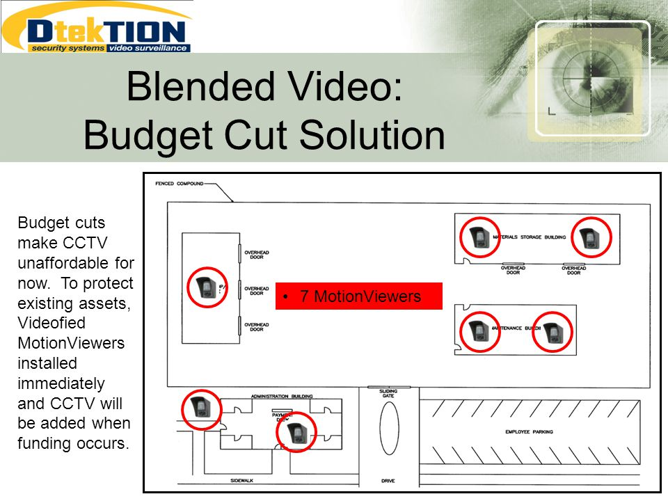 Blended Video: Budget Cut Solution 7 MotionViewers Budget cuts make CCTV unaffordable for now. To protect existing assets, Videofied MotionViewers ins