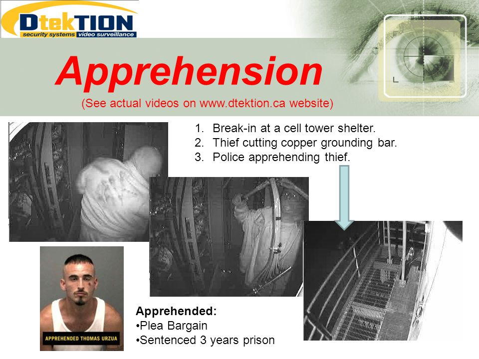 Apprehension Apprehended: Plea Bargain Sentenced 3 years prison 1.Break-in at a cell tower shelter. 2.Thief cutting copper grounding bar. 3.Police app