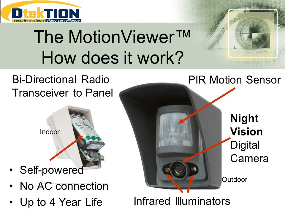 The MotionViewer How does it work? PIR Motion Sensor Night Vision Digital Camera Infrared Illuminators Self-powered No AC connection Up to 4 Year Life