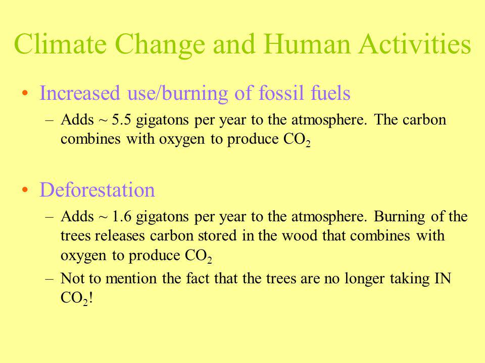 Climate Change and Human Activities Increased use/burning of fossil fuels –Adds ~ 5.5 gigatons per year to the atmosphere. The carbon combines with ox