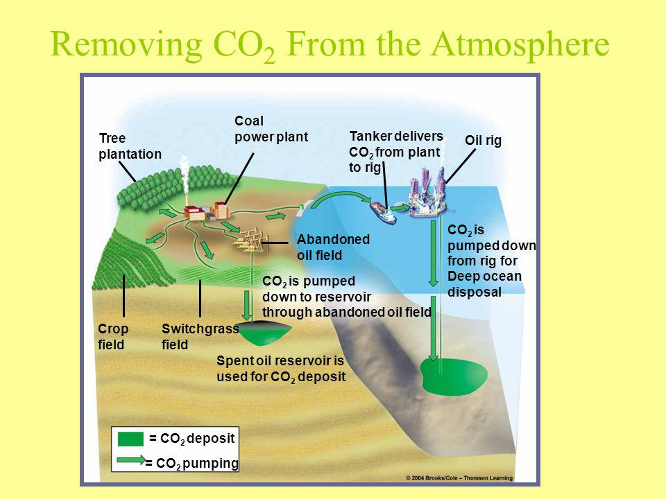 Tree plantation Coal power plant Tanker delivers CO 2 from plant to rig Oil rig Crop field Switchgrass field Spent oil reservoir is used for CO 2 depo
