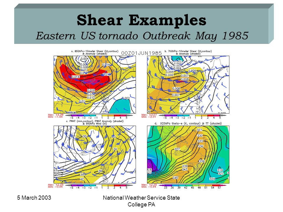 5 March 2003National Weather Service State College PA Shear Examples Eastern US tornado Outbreak May 1985